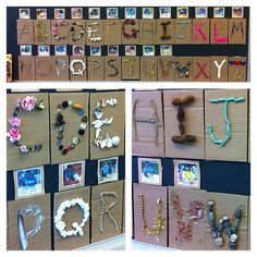 Building an alphabet with 'found' materials, great way for students to document their experience building the alphabet. displaying this in the classroom will help the kids reflect on their memories as well as provide them exposure to the letters.