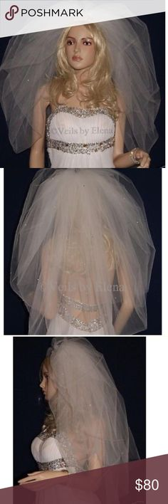 Old Hollywood Glam Bubble Wedding Veil Rhinestone Make a grand entrance down the aisle in this old Hollywood dramatic Glam bubble veil. Blusher is adorned with delicate rhinestones. Brand New. Made to order. boutique  Other