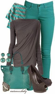 Green color tight jeans, grey color sleeve shirt, scarf, green bag and grey shoes