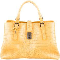 Pre-owned Bottega Veneta Edoardo Crocodile Roma Bag (11,185,460 KRW) ❤ liked on Polyvore featuring bags, handbags, yellow, yellow handbag, bottega veneta handbags, zipper flap purse, kiss-lock handbags and yellow purse