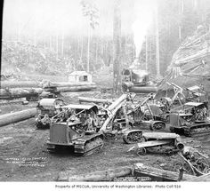 Caterpillar tractors and donkey engine at loading site, with flatbed railroad log cars and shack in background, Simpson Logging Company camp no. 5, ca. 1940 :: Kinsey Brothers Photographs of the Lumber Industry, 1890-1945