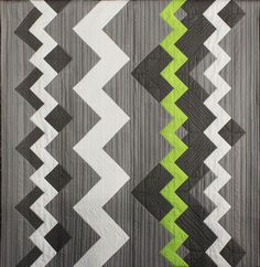 """Zig Zag"" by Janine Dixon.  2013 Sydney (Australia) Quilt show:  category:  New Quilt from Old Favorite, modern quilting design."