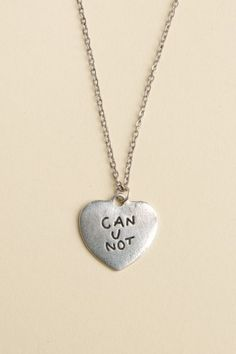 Brandy ♥ Melville | Can U Not Engraved Heart Necklace - Jewelry - Accessories