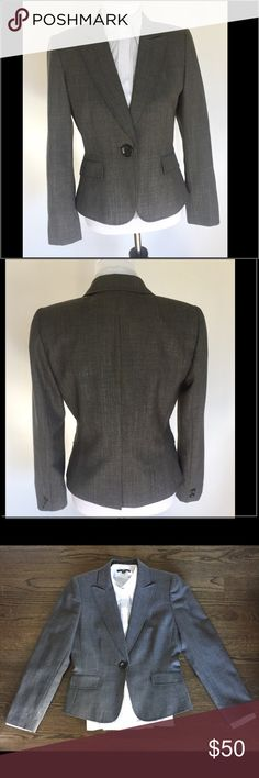 Tahari Arthur S Levine Blazer in Gray Classically tailored design crafted into a flattering silhouette. Notched lapels, long sleeves, one-button closure, front welt pockets. Shell: 61% Polyester, 36% Wool, 3% Lycra, Lining: 100% Polyester. Dry Clean Only. Like new. Great condition. Tahari Woman Jackets & Coats Blazers