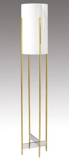 Paul Mayen; Brass, Glass and Plastic Floor Lamp, c1970.