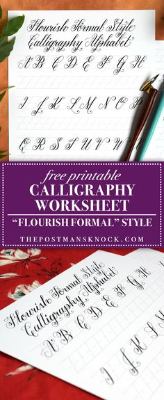 Print on smooth laserjet paper for best results! (You don't need a laserjet printer to print on laserjet paper; a regular inkjet will work just fine. Calligraphy Worksheet, Copperplate Calligraphy, How To Write Calligraphy, Calligraphy Handwriting, Calligraphy Alphabet, Font Alphabet, Penmanship, Cursive, Creative Lettering