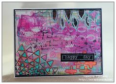 Mixed Media card with acrylic paint and The Crafter's Workshop stencils