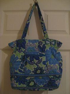 Vera Bradley Doodle Daisy Laura Bag Elastic Blue Flowers Green Purse Retired #VeraBradley #ShoulderBag
