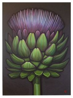 Artichoke Bloom original oil by Carin Vaughn by CarinVaughnArt Succulents Drawing, Hanging Succulents, Artichoke Flower, Succulent Wedding Centerpieces, Cecile, Design Seeds, Botanical Prints, Artichokes, Canvases