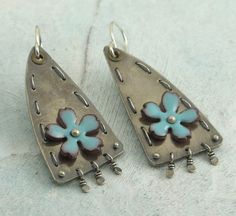 Turquoise Flower Earrings  upcycled vintage by KathrynRiechert, $64.00