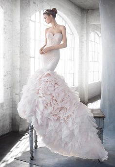 Lazaro Blush mermaid wedding dress