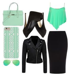 """""""Minty Black"""" by eventer4ever428 ❤ liked on Polyvore featuring moda, Forever New, Roland Mouret, Giuseppe Zanotti y Ray-Ban"""