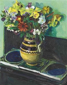 Pot of Flowers on Tiles By Duncan Grant ,1930