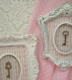 RESERVED LISTING FOR L. DO NOT PURCHASE. Shabby Chic Ornate Picture Frames White Distressed Wall Decor Plaques With Skeleton Keys Set of 3 Plaques - You Get All Three Plaques Shown Description: This is a lovely and romantic set of 3 upcycled ornate plaques with brass