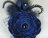 OOAK Fabric Flower Hairclip, Fabric Flower Brooch, Royal Blue, Wedding Floral Headpiece, Lady Bridgette by Euphoria Road