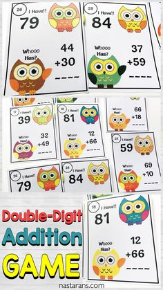 Teaching double digit addition with regrouping and without regrouping? Check out this game! Great for math centers and easy to prep! Your first or second grade students will love practicing double-digit addition with this fun set of game cards! #additiongame