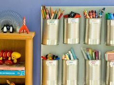 Tin cans are tiny containers just waiting to be put to organizational use. To recycle them into versatile storage, all you need is your imagination and a clean-edge can opener.