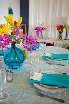 aqua and fuschia with a pop of yellow! | Fuschia and turquoise wedding | Pink and aqua wedding | #EndoraJewellery - Custom wedding jewellery for the bride, bridesmaids and flower girls.