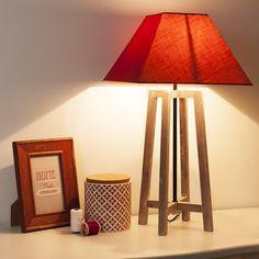 Lampe en bois et toile rouge H 43 cm SQUARE