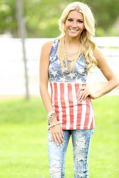 Distressed Flag Tank - Fourth 4th of July Outfit!