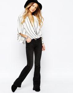 Image 4 - Free People - Blouse à manches kimono rayées - Blanc