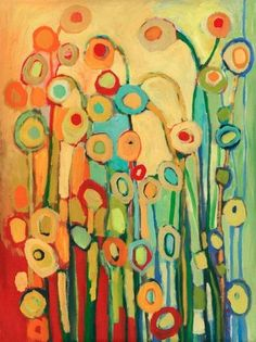 """Modern Poppy Abstract - """"Dance of the Flower Pods"""" - Fine Art Print by Jenlo, 9x12 and larger"""