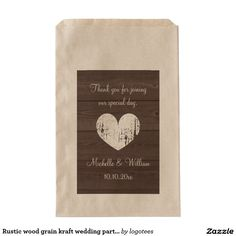 Shop Rustic wood grain kraft wedding party favor bags created by logotees. Wedding Favor Bags, Party Favor Bags, Wedding Party Favors, Rustic Wood, Wood Grain, Special Day, Prints, Wedding Favours