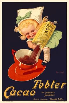 Tobler Cacao by Onwy 1925 French - Beautiful Vintage Poster Reproductions. This vertical french culinary / food poster features a girl in green dress and white hat standing on a saucer pouring coco into a red cup. Giclee Advertising Print. Classic Posters