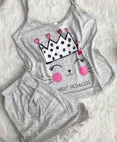 Cute Pajama Sets, Cute Pajamas, Pajamas Women, Sneakers Fashion Outfits, Teen Fashion Outfits, Lingerie Outfits, Lingerie Set, Cute Pjs For Women, Summer Outfits