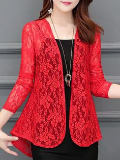 See-Through Floral Plain Long Sleeve Cardigans - Cathybuy.com