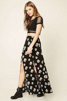 c9d7e6caa Floral Side-Slit Maxi Skirt Falda Larga Con Flores, Faldas Largas Con Botas,