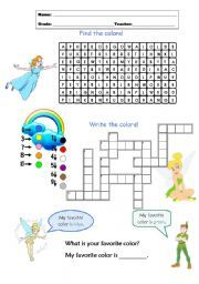 English worksheet: Colors - Peter Pan e Sininho