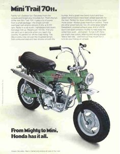 From Mighty to Mini. Vintage Honda ad of my 1st ride. I thought it was a beast at the time :)
