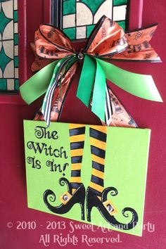 Halloween Holiday door sign decoration. This is a variation of my original Halloween artwork from 2010. The sign is handpainted.  This sign is one of the top pins on Pinterest! Available in 8x10 on 1/8 inch thick flat canvas board or 8x10 on 3/4 inch thick stretched canvas  The back is finished and it does include the ribbon hanger. Ribbon colors/types may vary, but will coordinate with the artwork. The painting has a light dusting of glitter for extra Holiday sparkle. A UV varnish is also…