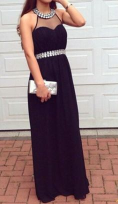 New Arrival Charming Black Prom Dress,Halter Prom Dress,A-Line