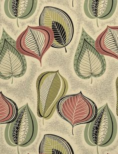 Image detail for original designs for wallcovering and textiles / part 2 (leaf art textiles) Textile Prints, Textile Patterns, Textile Design, Fabric Design, Retro Pattern, Pattern Art, Vintage Textiles, Vintage Patterns, Graphic Patterns