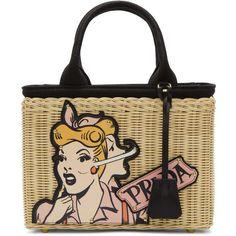 Prada Beige Comic Girl Basket Bag (£1,105) ❤ liked on Polyvore featuring bags, handbags, tote bags, beige, zipper tote, detachable key ring, tote purses, colorful tote bags and zip tote bag