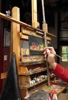 Art easel, home art, art studio at home, art studio design, small shelv Art Studio Room, Art Studio Storage, Art Studio Design, Art Studio Organization, Art Studio At Home, Art Storage, Painting Studio, Home Art, Studio Spaces