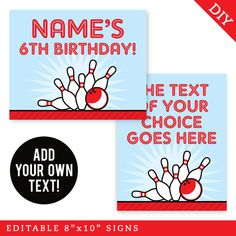 Paper goods and DIY printables for parties and holidays Bowling Party, Party Signs, Party Printables, Paper Goods, Party Planning, Activities, Make It Yourself, Birthday, Handmade Gifts