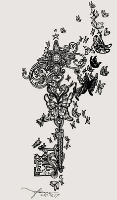 Secret garden key.. would make an awesome tattoo, with splashes of colour maybe....