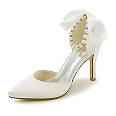 Women's Satin Stiletto Heel Closed Toe Pumps With Bowknot Imitation Pearl - Wedding Shoes - JJ's House Wedding Shoes Online, Beach Wedding Shoes, Wedding Shoes Heels, Bridal Shoes, Ankle Strap High Heels, Pointed Toe Heels, Stiletto Heels, Peep Toe, Dyeable Shoes