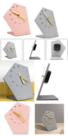 ,Handmade Concrete Geometric Desk Clock Wall Clock Made from Concrete and ABS
