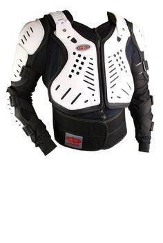 Perrini White CE Approved Full Body Armor Motorcycle Jacket Spine Protection