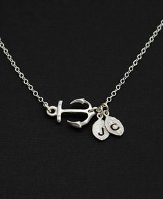 Personalized Silver Sideway Anchor Necklace  by MenuetDesigns, $28.50