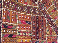 Indian Tapestry with Mirror work close up