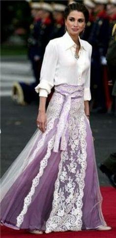Rania de Jordania en la boda de los principes de Asturias.
