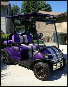 Golf Carts - Custom Golf Cart in Purple~ Mens Nike Golf Shoes, Mens Golf Outfit, Golf Cart Rims, Golf With Friends, Beach Cart, Custom Golf Carts, Golf Cart Accessories, Golf Trolley, Beach Buggy