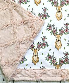 Minky Deer Baby Blanket Sleeping Floral Deer by CorkysQuilts