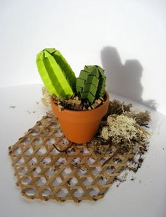 Origami Paper Art Forever Green Twinny Cactus by JoyfulArray