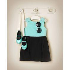 Janie & Jack 2014 High Tea Holiday Colorblock Posh (Colorblock Dress in Tiffany Blue-$79, Bow Patent Ballet Flat in Tiffany Blue, and Colorblock Sunglasses in Black/Tiffany Blue)